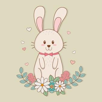 Kleines kaninchen mit blumenschmuck-ostern-charakter