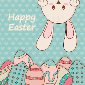 Kleines kaninchen mit eiern bemalte ostern zeichen