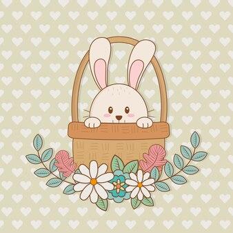 Kleines kaninchen mit korb-ostern-charakter
