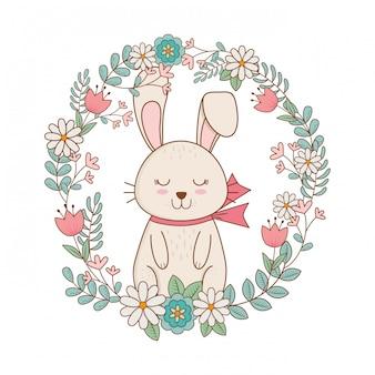 Kleines kaninchen mit kranz blüht ostern-charakter