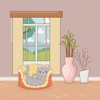 Kleines katzenmaskottchen im hausraum