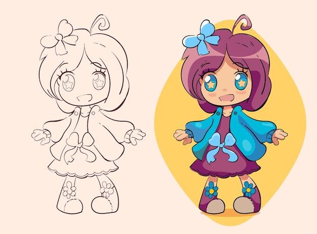 Kleines kawaii anime-mädchen mit einer niedlichen blauen schleife mit sternenklaren augen
