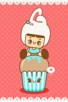 Kleines kawaii mädchen und glücklicher cupcake mit nahtlosem muster