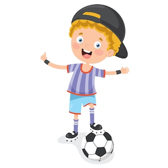 Kleines kind, das den fußball im freien spielt