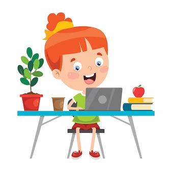 Kleines kind, das im klassenzimmer studiert
