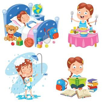 Kleines kind, das tägliche routinetätigkeiten macht