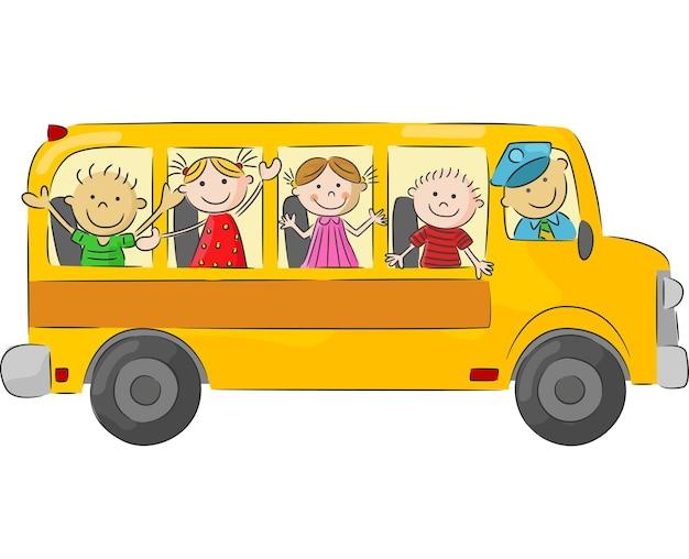 Kleines kind der karikatur im gelben bus