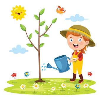 Kleines kind gartenarbeit und pflanzen