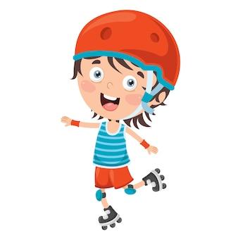 Kleines kind reiten rollschuhe