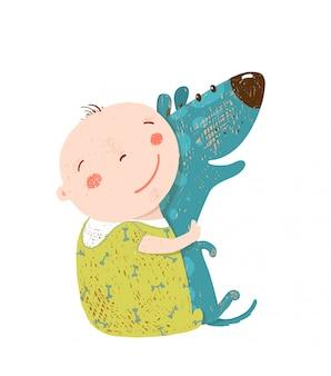 Kleines kind umarmt hund beste glückliche freunde