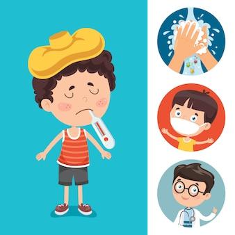 Kleines kind vom virus befallen