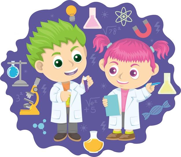 Kleines kind zwei, das chemische experimente tut