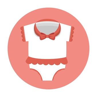 Kleines kleidungsbabyikonenvektor-illustrationsdesign