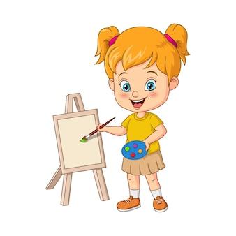 Kleines künstlermädchen der karikatur, das auf leinwand malt