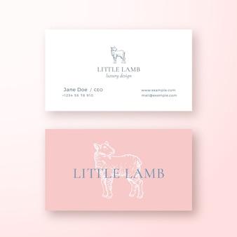 Kleines lamm-abstraktes weibliches vektor-zeichen oder logo und visitenkartenschablone.