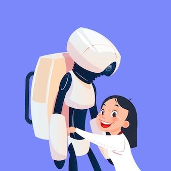 Kleines Mädchen, das mit modernem Roboter spielt