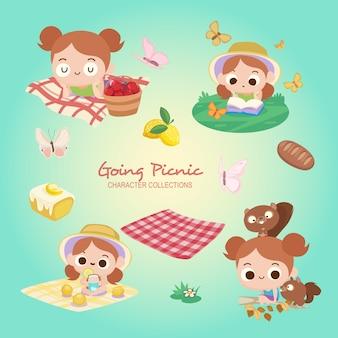 Kleines Mädchen gehen Picknick