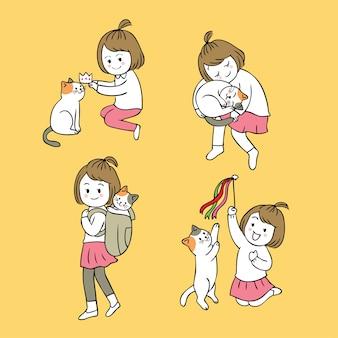 Kleines Mädchen und Katze der netten Karikatur der Karikatur.