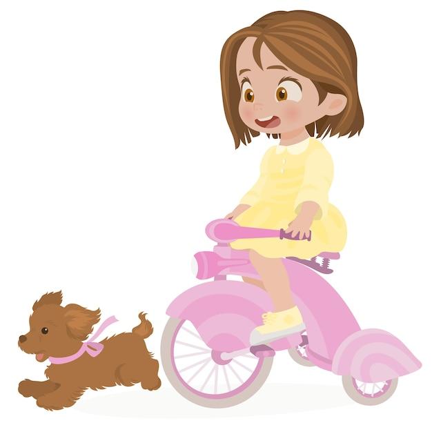 Kleines mädchen auf einem fahrrad