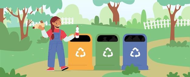 Kleines mädchen-charakter werfen müll in abfallbehälter-container mit recycling-zeichen im park. umweltschutz, umweltverschmutzungsproblem, eco activist plastic reuse solution. cartoon-vektor-illustration