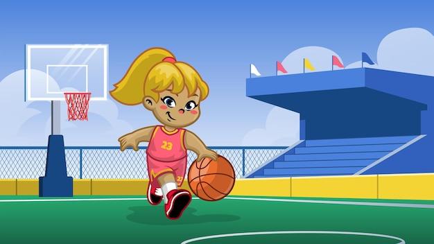 Kleines mädchen, das basketball im basketballplatz spielt
