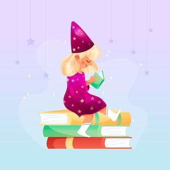 Kleines mädchen, das ein märchenbuch liest