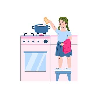 Kleines mädchen, das essen auf küchenherdkarikatur isoliert kennzeichnet