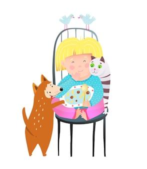 Kleines mädchen, das essen teilt, das zusammen mit katze und hund isst