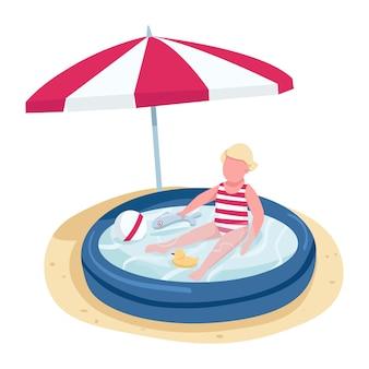 Kleines mädchen, das mit spielzeugen im gesichtslosen charakter der aufblasbaren poolflachfarbe spielt. kind am strand unter sonnenschirm isolierte karikaturillustration für web und animation