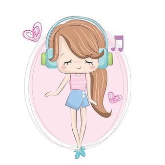Kleines mädchen, das musik hört
