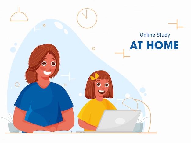 Kleines mädchen, das online-studie vom laptop zu hause und von der jungen frau nimmt, die auf buch während coronavirus-pandemie schreibt.