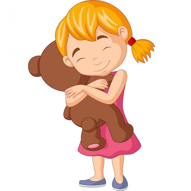 Kleines mädchen, das teddybären umarmt