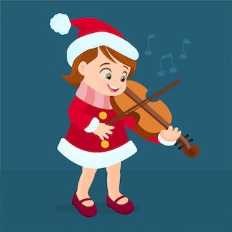 Kleines mädchen, das violine spielt