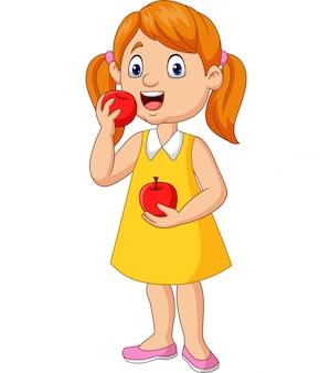 Kleines mädchen der karikatur, das äpfel isst