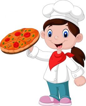 Kleines mädchen der karikatur, das pizza hält