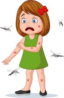 Kleines mädchen der karikatur, das von den moskitos gebissen wird