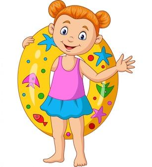 Kleines mädchen der karikatur mit aufblasbarem ring