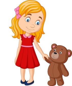 Kleines mädchen der karikatur mit dem teddybären, der hand zusammenhält