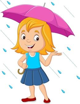 Kleines mädchen der karikatur mit regenschirm im regen