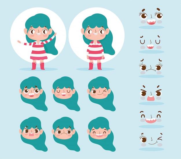 Kleines mädchen der zeichentrickfilm-figur-animation mit dem grünen haar und den verschiedenen gestengesichtern