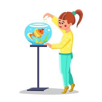 Kleines mädchen füttern fische im goldfischglas-aquarium-vektor. glückliches kleines kind, das nette fische füttert. lächelnde charakter-schulmädchen-kinderbetreuung und das spielen mit exotischer goldfisch-flache karikatur-illustration