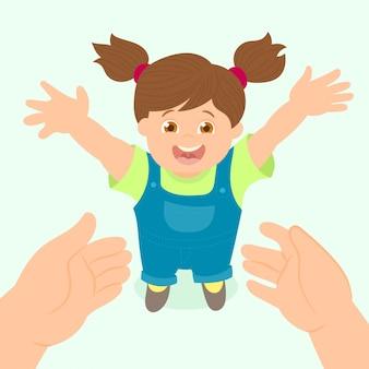 Kleines mädchen glücklich in den händen ihres vaters