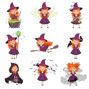 Kleines mädchen hexenset, das lila kleid und hut trägt