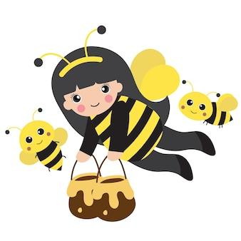 Kleines mädchen im bienenkostüm