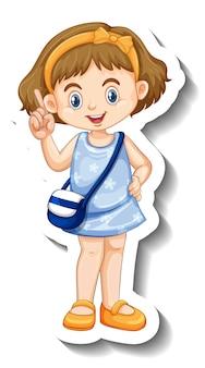 Kleines mädchen im blauen kleid-cartoon-charakter-aufkleber