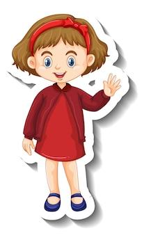 Kleines mädchen im roten kleid-cartoon-charakter-aufkleber