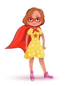 Kleines mädchen im superheldenkostüm. mädchen in einem gelben kleid mit sternen, einer roten maske und einem roten umhang. illustration