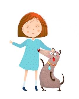 Kleines mädchen in kleid und hund