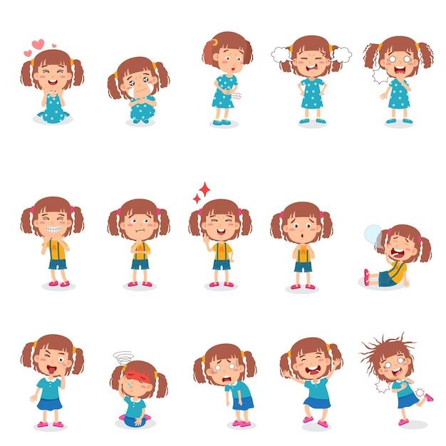 Kleines mädchen in verschiedenen posen mit gesten und ausdrücken.