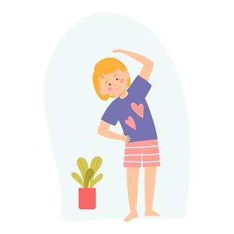 Kleines mädchen macht übungen vektor-illustration für banner-postkarte cartoon-stil-charakter